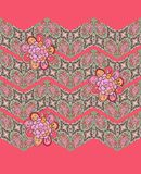 Seamless pattern with hand drawn flowers on ornamental zigzag lines Royalty Free Stock Photography