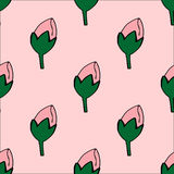 Seamless pattern with hand-drawn flowers-rosebuds Royalty Free Stock Images
