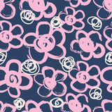 Seamless pattern with hand drawn flowers Stock Photo
