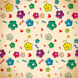 Seamless pattern of hand drawn flowers in vintage style Royalty Free Stock Photo
