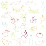 Seamless pattern-hand drawn food. Vector Stock Images