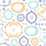 Seamless pattern with hand drawn frames, birds, hearts. Vector elements for design. royalty free illustration