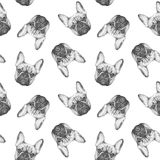 Seamless pattern with hand-drawn French Bulldog. Hand drawn ilustration Royalty Free Stock Photography