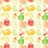 Seamless pattern with hand drawn fruit for menu fresh juice. Royalty Free Stock Photo