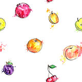 Seamless pattern with hand drawn fruits Stock Photo