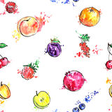 Seamless pattern with hand drawn fruits Stock Photography