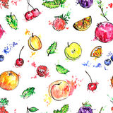 Seamless pattern with hand drawn fruits Royalty Free Stock Images