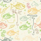 Seamless pattern with hand drawn funny fishes in sketch style. Decorative endless marine background. Fabric design. Seamless pattern with hand drawn funny Stock Photo