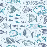 Seamless pattern with hand drawn funny fishes in sketch style. Vector decorative endless marine background. Fabric design Stock Photos