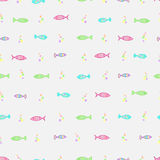 Seamless pattern. Hand drawn seamless pattern with funny fishes. Vector colorful background Stock Image