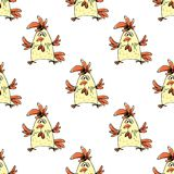 Seamless pattern hand drawn funny rooster on  white background,. Stock vector illustration Stock Photo