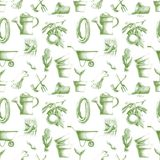 Seamless pattern with hand-drawn gardening elements Royalty Free Stock Images