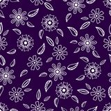 Seamless pattern with hand-drawn gentle flowers on a bright bac. Kground vector illustration
