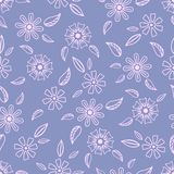 Seamless pattern with hand-drawn gentle flowers. On a bright background vector illustration