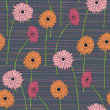 Seamless pattern with hand drawn gerberas Royalty Free Stock Photo