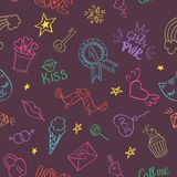 Seamless pattern with hand drawn girly doodles. stock image