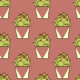Seamless pattern with hand drawn green cactus Royalty Free Stock Photo