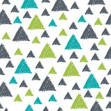 Seamless pattern with hand drawn green and grey triangles. Seaml Royalty Free Stock Images