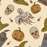Seamless pattern with hand drawn halloween doodles. Childish tiling background with cartoon spooky ghosts, skulls and pumpkins Royalty Free Stock Photo