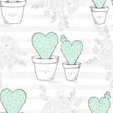Seamless pattern with hand drawn heart shaped family of cactuses with a baby. Romantic floral background. Vector illustration Stock Photos