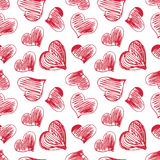 Seamless pattern with hand drawn heart shapes. White seamless pattern with hand drawn heart shapes on white background Royalty Free Stock Image