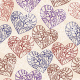 Seamless Pattern with Hand Drawn Hearts Stock Photo