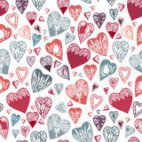 Seamless pattern with hand drawn hearts. Royalty Free Stock Photos