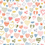 Seamless pattern of hand drawn hearts Stock Photo