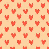 Seamless pattern with hand drawn hearts. Ink. Background for Valentine`s Day. Vector illustration Stock Illustration