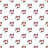 Seamless pattern of hand-drawn hearts in pink color. Vector background image for holiday, baby shower, birthday, valentin. E`s day vector illustration