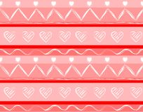 Seamless pattern with hand drawn hearts and strokes in beautiful colors for your design. Vector background.  Stock Photo