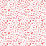 Seamless pattern of hand drawn hearts Stock Photography
