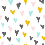 Seamless pattern with hand drawn hearts. Vector illustration stock illustration