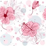 Seamless Pattern with Hand Drawn Hibiscus Flowers. Vector illustration of seamless pattern with hand drawn pink hibiscus flowers Stock Images