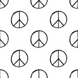 Seamless pattern with hand drawn hippie peace symbol. Hippy pacific sign. Hippie art background. Boho vintage fashion. Black and white wallpaper stock illustration