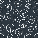 Seamless pattern with hand drawn hippie peace symbol. Hippy pacific sign. Hippie art background. Boho vintage fashion. Monochrome wallpaper vector illustration