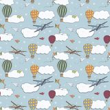 Seamless  pattern, hand drawn hot air baloons flying in the blue sky Stock Photo