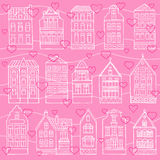Seamless pattern with hand drawn houses and hearts Stock Images