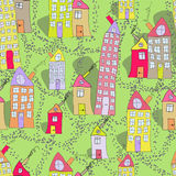 Seamless pattern of hand drawn houses in spring town Royalty Free Stock Photo