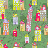 Seamless pattern of hand drawn houses in summer town. Cute seamless pattern of hand drawn houses in summer town Stock Photo