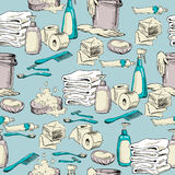 Seamless pattern with hand-drawn hygiene elements royalty free illustration