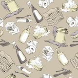 Seamless pattern with hand-drawn hygiene elements Stock Image
