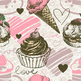 Seamless pattern with hand drawn ice cream and Stock Photo