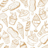 Seamless pattern, hand-drawn ice cream Royalty Free Stock Image