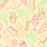 Seamless pattern, hand-drawn ice cream Royalty Free Stock Photography