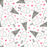 Seamless pattern with hand drawn ice creams. Doodle cream vector cute hearts Stock Photography
