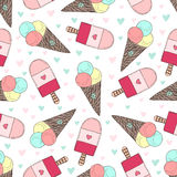 Seamless pattern with hand drawn ice creams. Doodle vector icecream  cute hearts. Royalty Free Stock Images