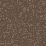Seamless illustration with hand drawn icons on the theme of law and crimes, beige outline on a brown background. Seamless pattern with hand drawn icons on the Stock Photography