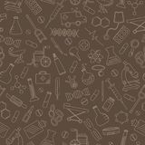 Seamless illustration  with hand drawn icons on a theme medicine and health, beige outline on a brown background. Seamless pattern with hand drawn icons on a Royalty Free Stock Photos