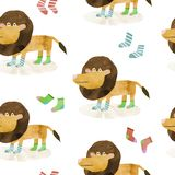 Seamless pattern with hand drawn illustration of a cute lion and socks royalty free illustration